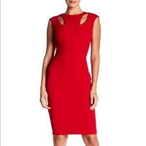 calvin klein red dress shoulder cutouts